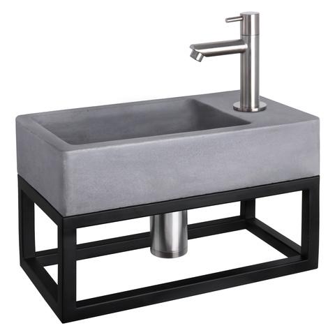 Differnz Force fonteinset met zwart frame - kraan recht - beton - mat chroom