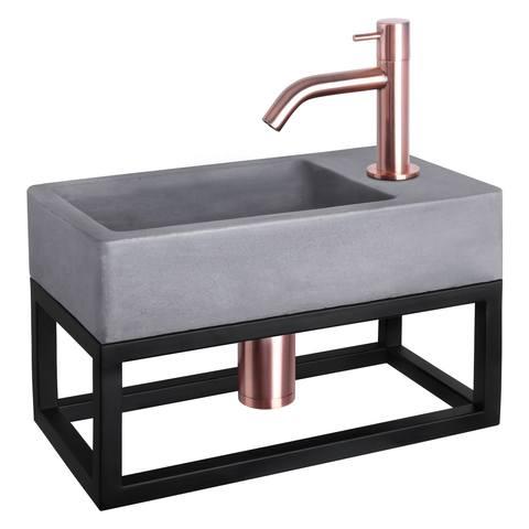Differnz Force fonteinset met zwart frame - kraan gebogen - beton - koper