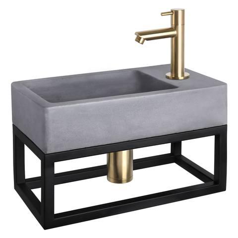 Differnz Force fonteinset met zwart frame - kraan recht - beton - mat goud