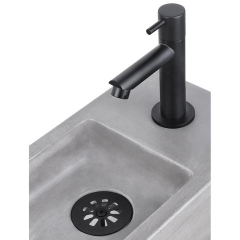 Differnz Ravo fonteinset - kraan recht - beton lichtgrijs - mat zwart