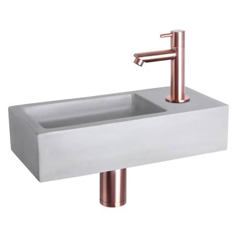 Differnz Ravo fonteinset - kraan recht - beton lichtgrijs - koper
