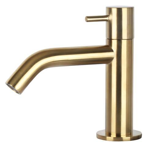 Differnz Ravo fonteinset - kraan gebogen - beton lichtgrijs - mat goud