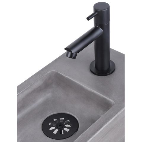 Differnz Ravo fonteinset - kraan recht - beton donkergrijs - mat zwart