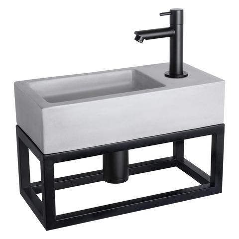 Differnz Ravo fonteinset met zwart frame - kraan recht - beton lichtgrijs - mat zwart