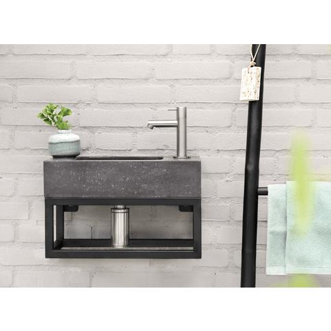 Differnz Ravo fonteinset met zwart frame - kraan gebogen - beton lichtgrijs - mat chroom