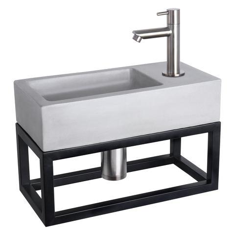 Differnz Ravo fonteinset met zwart frame - kraan recht - beton lichtgrijs - mat chroom