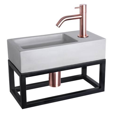 Differnz Ravo fonteinset met zwart frame - kraan gebogen - beton lichtgrijs - koper