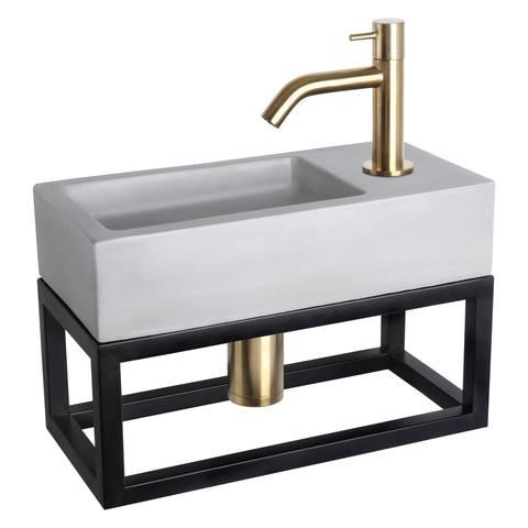 Differnz Ravo fonteinset met zwart frame - kraan gebogen - beton lichtgrijs - mat goud