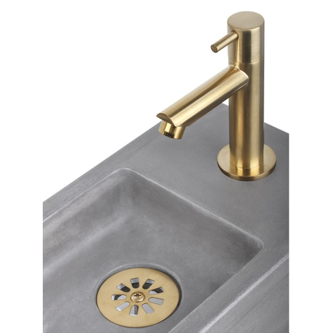 Differnz Ravo fonteinset met zwart frame - kraan recht - beton lichtgrijs - mat goud