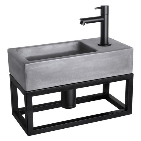 Differnz Ravo fonteinset met zwart frame - kraan recht - beton donkergrijs - mat zwart