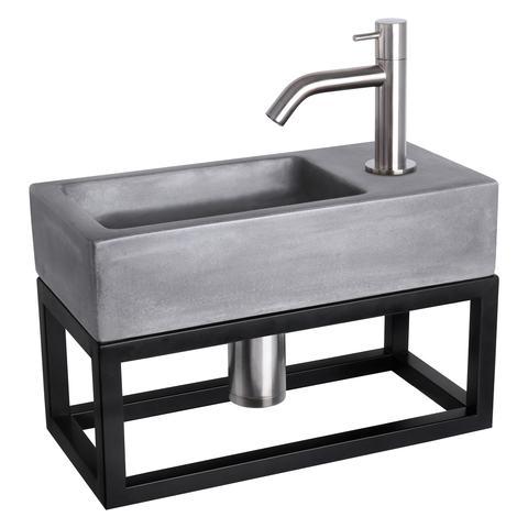 Differnz Ravo fonteinset met zwart frame - kraan gebogen - beton donkergrijs - mat chroom