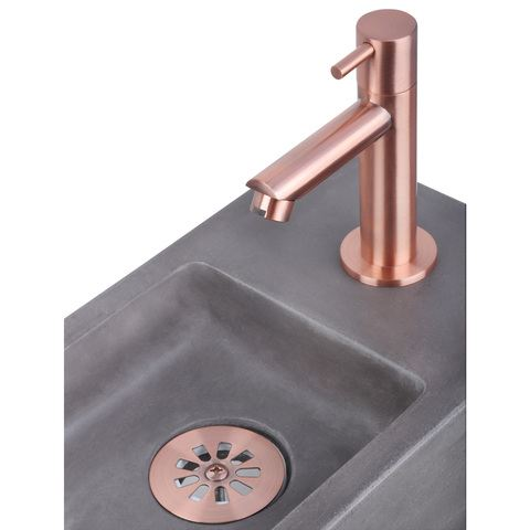 Differnz Ravo fonteinset met zwart frame - kraan recht - beton donkergrijs - koper