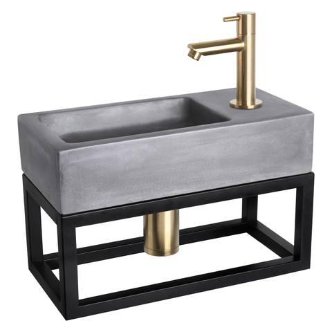 Differnz Ravo fonteinset met zwart frame - recht - beton donkergrijs - mat goud
