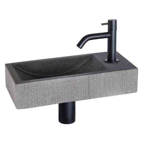 Differnz Ribble fonteinset Bombai black - kraan gebogen - natuursteen - mat zwart