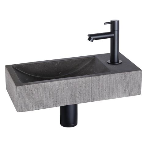 Differnz Ribble fonteinset Bombai black - kraan recht - natuursteen - mat zwart