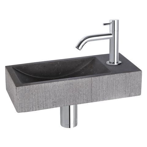 Differnz Ribble fonteinset Bombai black - kraan gebogen - natuursteen - chroom