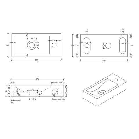 Differnz Ribble fonteinset Bombai black - kraan recht - natuursteen - koper