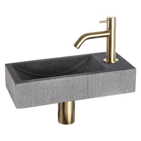 Differnz Ribble fonteinset Bombai black - kraan gebogen - natuursteen - mat goud
