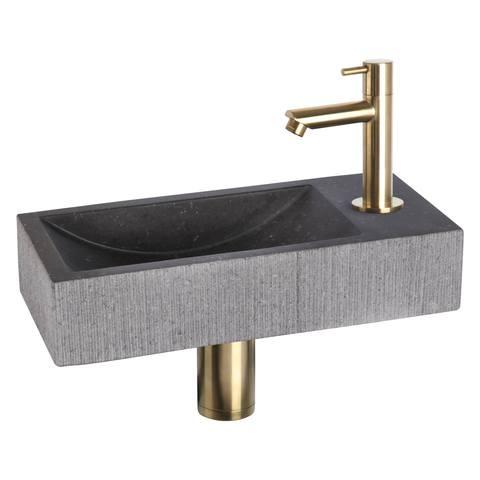 Differnz Ribble fonteinset Bombai black - kraan recht - natuursteen - mat goud