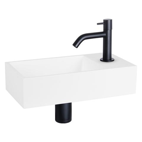 Differnz Solid fonteinset - kraan gebogen - mat zwart