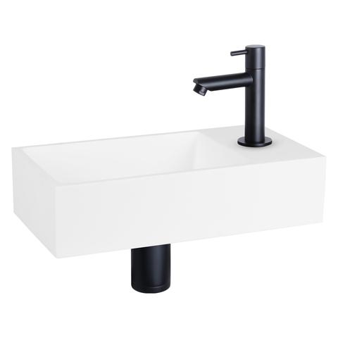 Differnz Solid fonteinset - kraan recht - mat zwart