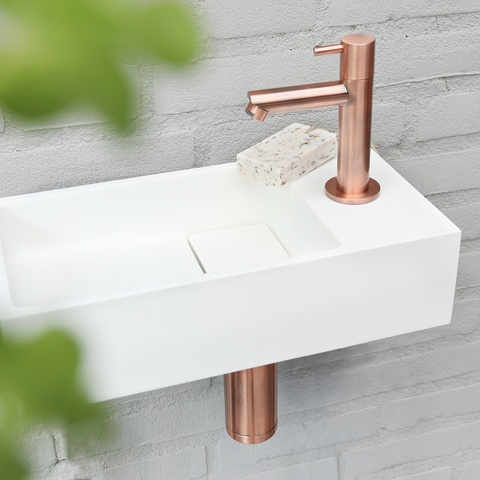 Differnz Solid fonteinset - kraan recht - koper