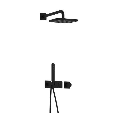 Hotbath Gal IBS41 inbouw doucheset met 2 pushbuttons - Mat zwart
