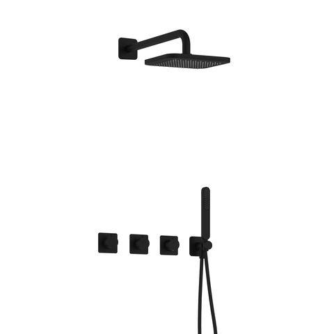 Hotbath Gal IBSGL70 inbouw doucheset met 2 stopkranen - Mat zwart
