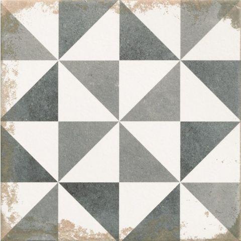 Realonda Antique tegel 33,3 x 33,3 cm Triangle zwart/wit (9 stuks)