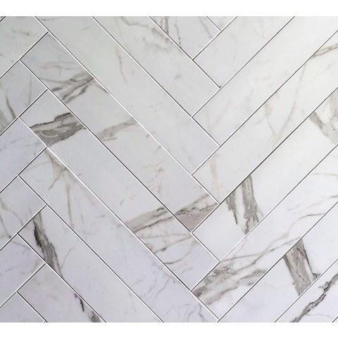 Cifre Statuario tegelstroken 10x60 - wit mat