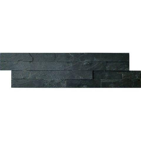 Jabo Schiste flatface stonepanel tegelstroken leisteen 60 x 15 cm antraciet slate (per stuk)