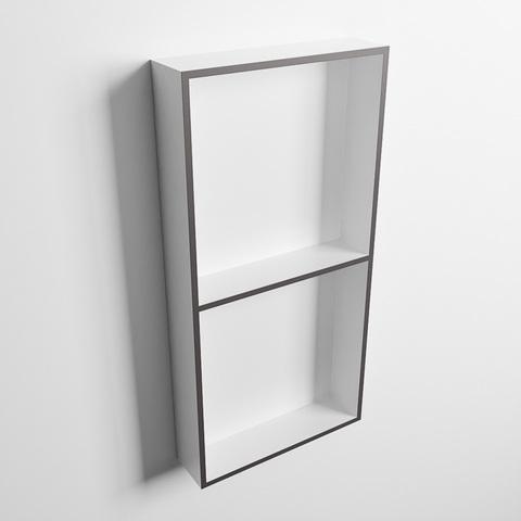 Mondiaz Easy nis 59,5x29,5cm solid surface - DarkGrey / Talc - 2 vakken