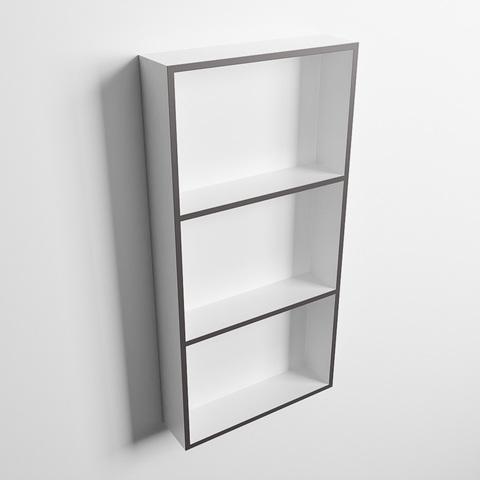 Mondiaz Easy nis 59,5x29,5cm solid surface - DarkGrey / Talc - 3 vakken