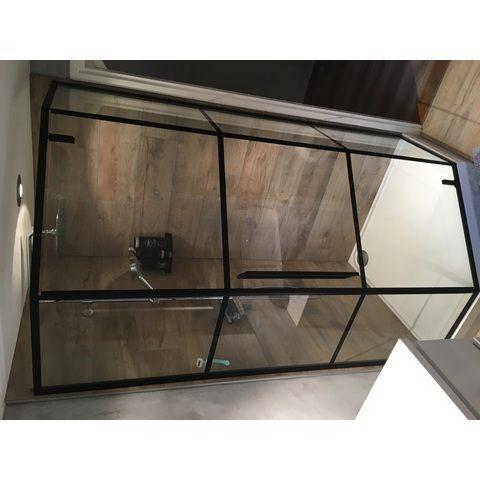 Bewonen Wilco ST04 douchecabine vijfhoek 90x90cm raster mat zwart